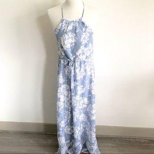 Greylin Silk Blue Floral Maxi Dress Size Small